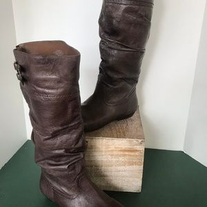 Nine West Lyssagd Brown Leather Boots size 7M